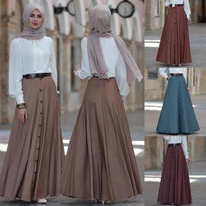 SAIA S-5XL Vintage cintura alta saia longa das mulheres A linha plissada cor sólida Maxi saia FRETE GRATIS