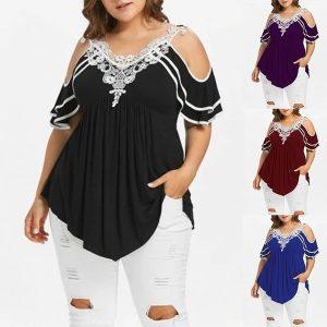 BLUSA T-shirt de ombro frio de moda feminina em camadas Plus Size FRETE GRATIS