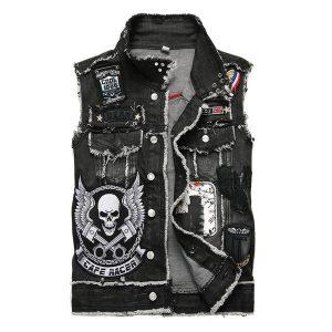 COLETE Punk Cowboy Jeans Vest Men Embroidered Skull Skull Vest Black Badge Motorcycle Vest FRETE GRATIS