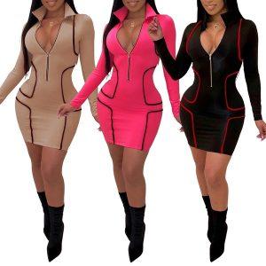 VESWTIDO Com zíper gola v pescoço manga comprida bodycon dress mulheres moda casual dress bainha mini clube vestidos de festa roupas FRETE GRATIS