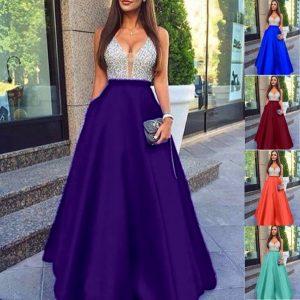 VESTIDO Mulheres moda elegante laço formal com decote em v chiffon prom dress sexy vestidos sem mangas soltas vestido de festa à noite FRETE GRATIS