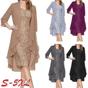 VESTIDO Moda feminina Duas Peças Charme Rendas Até o Joelho Vestidos de Noite Vestidos Vestidos de Festa para a Mãe dos Vestidos de Noiva FRETE GRATIS