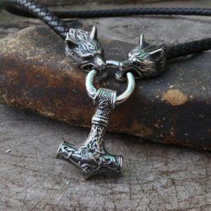 COLAR Colar de Aço Inoxidável dos homens Cadeia Imperador Lobo Viking Cabeça com Viking Mjolnir Martelo Pingente Amuleto Nórdico Ornamento Nacional FRETE GRATIS