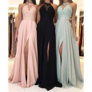 Mulheres elegantes bordados rendas retalhos dividir maxi vestido de festa halter pescoço sem mangas dama de honra até o chão vestido longo FRETE GRATIS