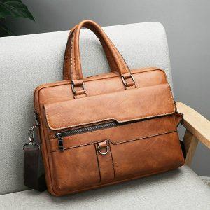 BOLSA Couro de luxo! Tote masculino de negócios retro maleta ombro mensageiro saco laptop bag (2size 3 cores) FRETE GRATIS
