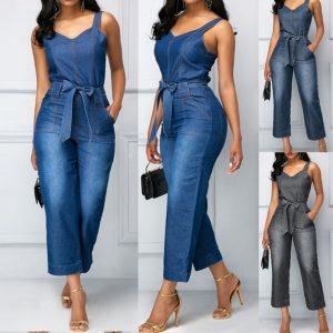 MACACÃO Moda feminina sem mangas cintura alta cinta jeans macacões bolso cinta larga com cinto macacão macacão FRETE GRATIS