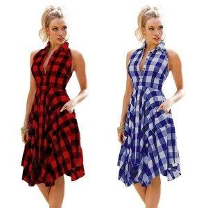 VESTIDO Moda senhora mulheres sem mangas xadrez shirtdress vestido vintage verão na altura do joelho camisas vestido vestido de festa qq FRETE GRATIS