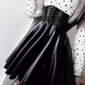 SAIA Moda feminina Couro PU Saias de cintura alta Bandagem preta das mulheres Mini saia plissada FRETE GRATIS