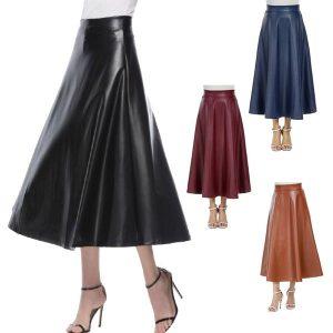SAIA Mulheres saia moda pu couro cintura alta plissada balanço vintage maxi saia saias FRETE GRATIS