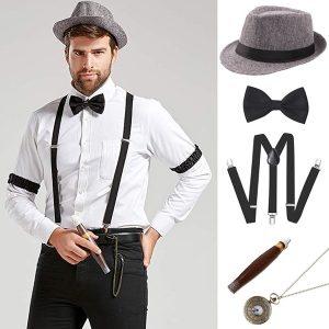 CONJUNTO O traje de Gatsby da década de 1920 para os acessórios para homens definia 8 estilos Www.DUGEZZU.Com.Br ANTECIPE SUAS COMPRAS DEMORA ALGUNS DIAS PRA VOCE RECEBER FIQUE A VONTADE E BOAS COMPRAS …FRETE GRATIS