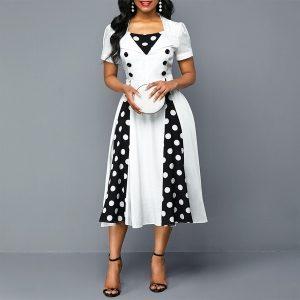 VESTIDO S-5XL Plus Size Mulheres Rockabilly Polka Dot Print Vestido de manga curta com detalhes FRETE GRATIS