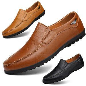 SAPATO Moda masculina Flat Mocassins ocasionais Sapatos de couro Ervilhas Sapatos Masculinos Ervilhas sapatos Mocassins macios e confortáveis para homens Sapatos de condução respiráveis Chaussures Pour Hommes Plus Size 38-48 FRETE GRATIS