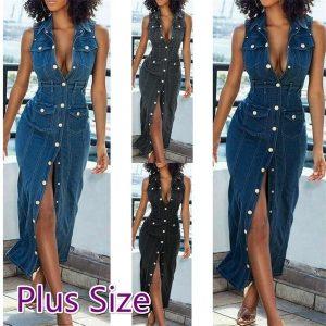 VESTIDO Mulheres Denim azul V Neck mangas Maxi Split vestido Plus Size FRETE GRATIS