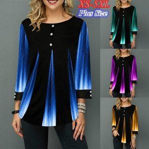 BLUSA Moda outono moda feminina solta casual impressão de tinta de manga comprida em torno do pescoço botão camisa e blusas plus size túnica tops FRETE GRATIS