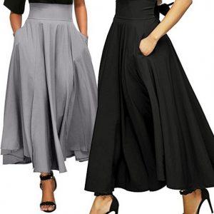 SAIA Mulheres cintura alta saia longa vestido plissado uma linha de fenda frontal com cinto saia maxi FRETE GRATIS