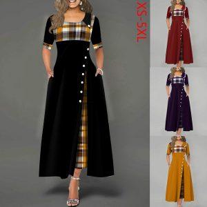 CONJUNTO Moda feminina meia manga xadrez botão de impressão detalhe vestido maxi FRETE GRATIS