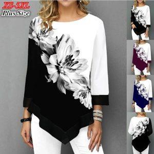 BLUSA Plus size tendência roupas novo outono moda feminina solto casual de mangas compridas floral impresso em torno do pescoço chiffon costurado blusas tops FRETE GRATIS