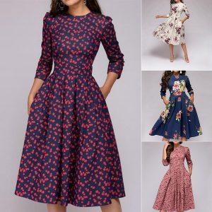 VESTDO Moda Feminina Floral Vestido Vintage Elegante Midi Vestido de mangas 3/4 Www.DUGEZZU.Com.Br ANTECIPE SUAS COMPRAS DEMORA ALGUNS DIAS PRA VOCE RECEBER FIQUE A VONTADE E BOAS COMPRAS …FRETE GRATIS