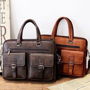 BOLSA Design de Moda! Tote masculino de negócios retro maleta ombro mensageiro saco laptop bag (4size 3 cores) FRETE GRATIS