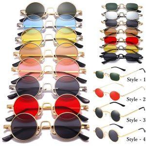 OCULOS Women Men Unisex Vintage Sunglasses Colored Lenses Hippie Retro Metal Round Circle Sun Glasses FRETE GRATIS