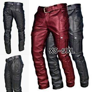 CALÇA Preto / vinho tinto calças de couro homens moda casual plus size calças da motocicleta calças homens corredores de couro pu pantalon homme FRETE GRATIS