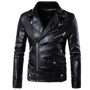 JAQUETA Homens punk PU jaqueta de couro preta motocicleta moda mens Slim Fit jaqueta de couro motociclista casaco FRETE GRATIS