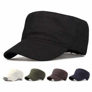 BONE Tampão liso unisex clássico do exército do vintage cadete militar chapéu de algodão ajustável patrulha tampas planas FRETE GRATIS