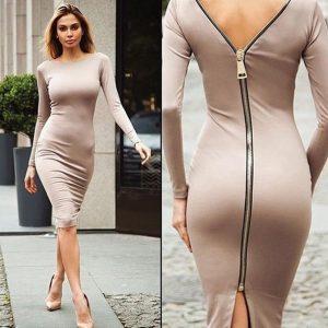VESTIDO moda feminina com zíper saco de malha quadril manga longa vestido fino FRETE GRATIS