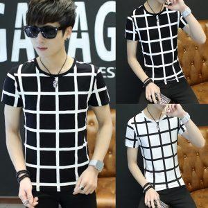 CAMISA XADREZ Homens moda juventude em torno do pescoço de manga curta t-shirt xadrez padrão tops FRETE GRATIS