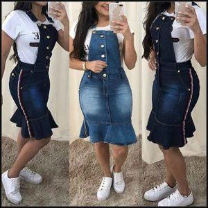 JARDINEIRA Ruffle Verão das mulheres Hem Slim Fit Denim Strap Vestidos Lavado Listra Lateral Jeans Saias Lápis Plus Size S-3XL FRETE GRATIS