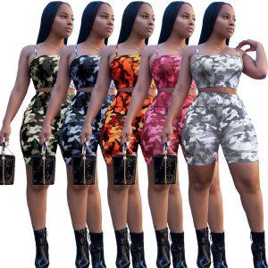 CONJUNTO Summer Women's Camouflage Sports Set 2 Piece Tops and Shorts Sportswear Www.DUGEZZU.Com.Br ANTECIPE SUAS COMPRAS DEMORA ALGUNS DIAS PRA VOCE RECEBER FIQUE A VONTADE E BOAS COMPRAS …FRETE GRATIS