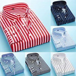 CAMISA Plus Size (XS-5XL) Camisa clássica masculina Camisa listrada de vestido masculina Manga comprida Turn-down Collar Camisas de negóciosWww.DUGEZZU.Com.Br ANTECIPE SUAS COMPRAS DEMORA ALGUNS DIAS PRA VOCE RECEBER FIQUE A VONTADE E BOAS COMPRAS …FRETE GRATIS