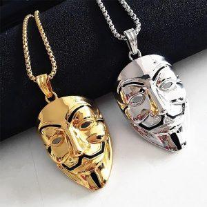 COLAR New Retro Gold-plated V Represents Mask Pendant Necklace V-Vendetta Necklace Hacker Mask Men and Women Pendant Necklace Www.DUGEZZU.Com.Br ANTECIPE SUAS COMPRAS DEMORA ALGUNS DIAS PRA VOCE RECEBER FIQUE A VONTADE E BOAS COMPRAS …FRETE GRATIS