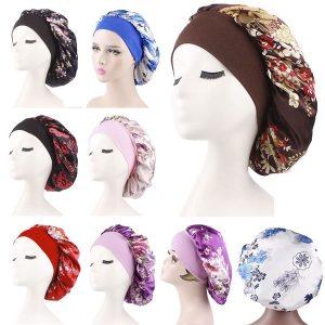 TOCA Mulheres floral impresso noite sono chapéu macio banda larga noite sono chapéu turbante chapéus hijab