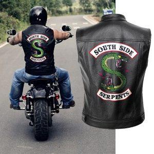 COLETE Riverdale jaqueta de couro colete homens motocicleta jaquetas primavera lado sul serpentes punk preto motorrad gilet Www.DUGEZZU.Com.Br ANTECIPE SUAS COMPRAS DEMORA ALGUNS DIAS PRA VOCE RECEBER FIQUE A VONTADE E BOAS COMPRAS …FRETE GRATIS