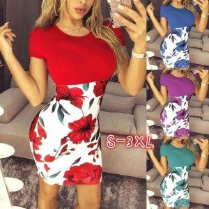 VESTIDO S-3XL Sexy Mulheres Elegantes Manga Curta Floral Lápis Vestido Pacote Hip Party Mini Vestido Www.DUGEZZU.Com.Br ANTECIPE SUAS COMPRAS DEMORA ALGUNS DIAS PRA VOCE RECEBER FIQUE A VONTADE E BOAS COMPRAS …FRETE GRATIS