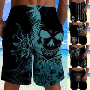 BERMUDA Plus size Moda masculina Lace Up 3D Skull Print Shorts para homens Shorts de praia Shorts de natação Swim Trunk Www.DUGEZZU.Com.Br ANTECIPE SUAS COMPRAS DEMORA ALGUNS DIAS PRA VOCE RECEBER FIQUE A VONTADE E BOAS COMPRAS …FRETE GRATIS