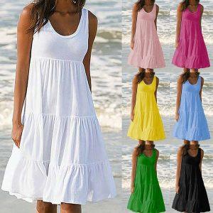 VESTIDO  nova moda verão mulheres casual dress em torno do pescoço solto grande saia balanço sem mangas cor soild beach dress Www.DUGEZZU.Com.Br ANTECIPE SUAS COMPRAS DEMORA ALGUNS DIAS PRA VOCE RECEBER FIQUE A VONTADE E BOAS COMPRAS …FRETE GRATIS EMPRESA Facebook.Com/Dugezzurockshop/ QUER VER TODOS OS PRODUTOS ANTES DE COMPRAR Www.Facebook.Com/Dugezzu/Photos_all………. FRETE GRATIS Comprar Em Www.DUGEZZU.Com.Br Ou No Seu CELULAR Ou AQUI Na LOJA