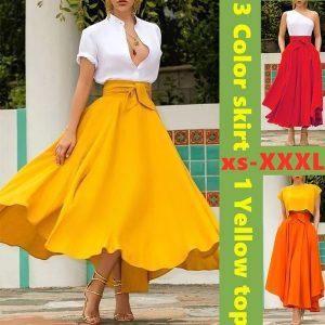 CONJUNTO 4 cores verão cor sólida saia de cintura alta ou amarelo tops esticar cintura bohemian moda das mulheres grande saia balanço plus size xs-3xl Www.DUGEZZU.Com.Br Boas Compras ANTECIPE SUAS COMPRAS DEMORA ALGUNS DIAS PRA VOCE RECEBER FIQUE A VONTADE E BOAS COMPRAS …FRETE GRATIS ENTREGAMOS EM SEU ENDEREÇO EM SEU CONFORTO Ou ONDE VC INDICAR EM TODO LUGAR  EMPRESA facebook.com/dugezzurockshop… QUER VER TODOS OS PRODUTOS ANTES DE COMPRAR  www.facebook.com/dugezzu/photos_all………. FRETE GRATIS Comprar Em Www.DUGEZZU.Com.Br Ou No Seu CELULAR Ou AQUI Na LOJA digite O PRIMEIRO NOME DO PRODUTO DESEJADO Por Exemplo (CELULAR)